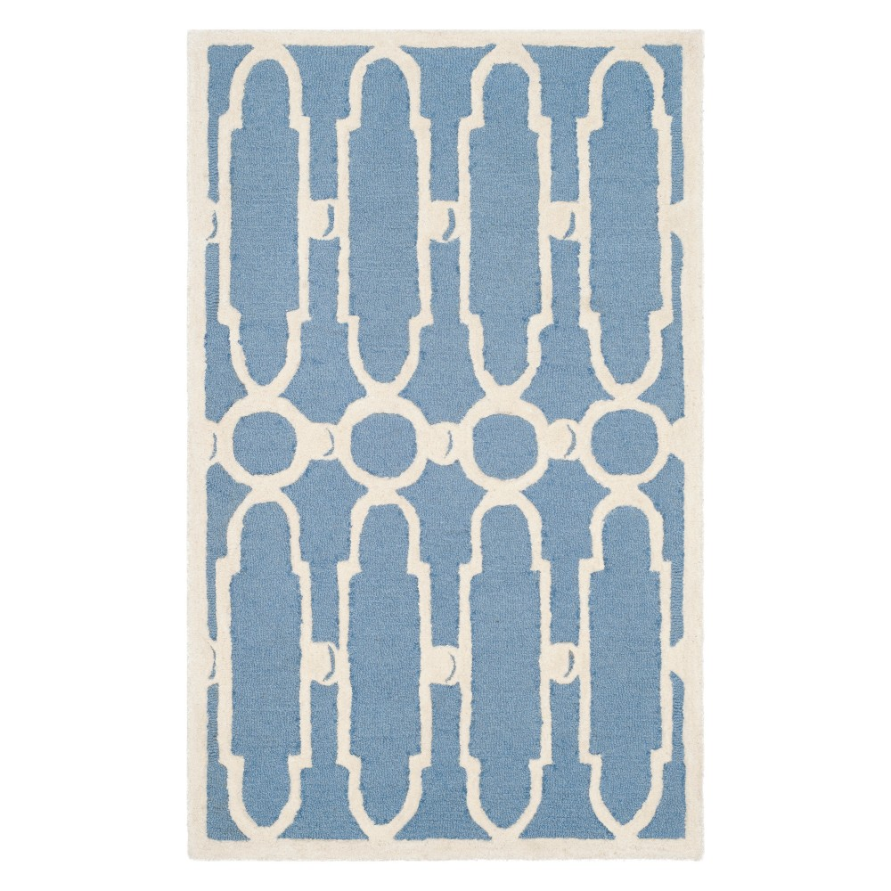 "2'6""X4' Geometric Accent Rug Blue/Ivory - Safavieh, White Blue"