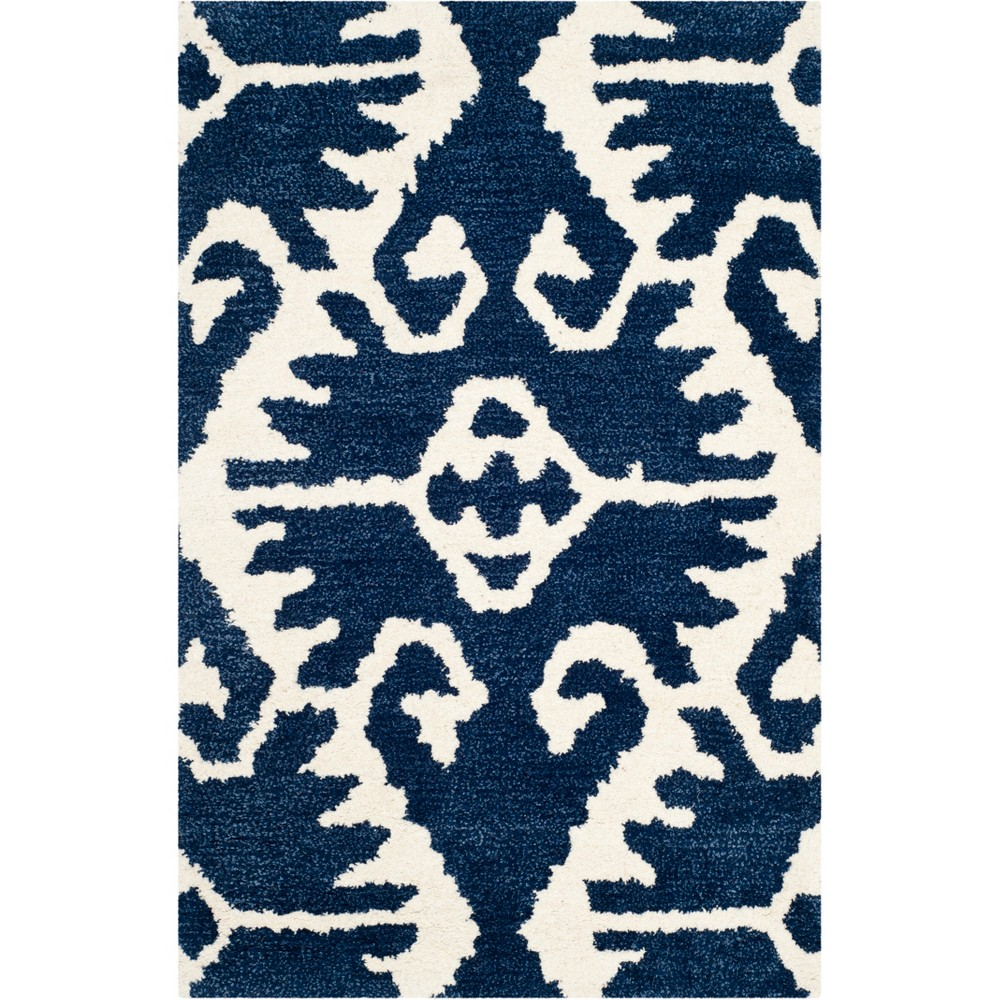 "2'6""X4' Tribal Design Tufted Accent Rug Royal Blue/Ivory - Safavieh"