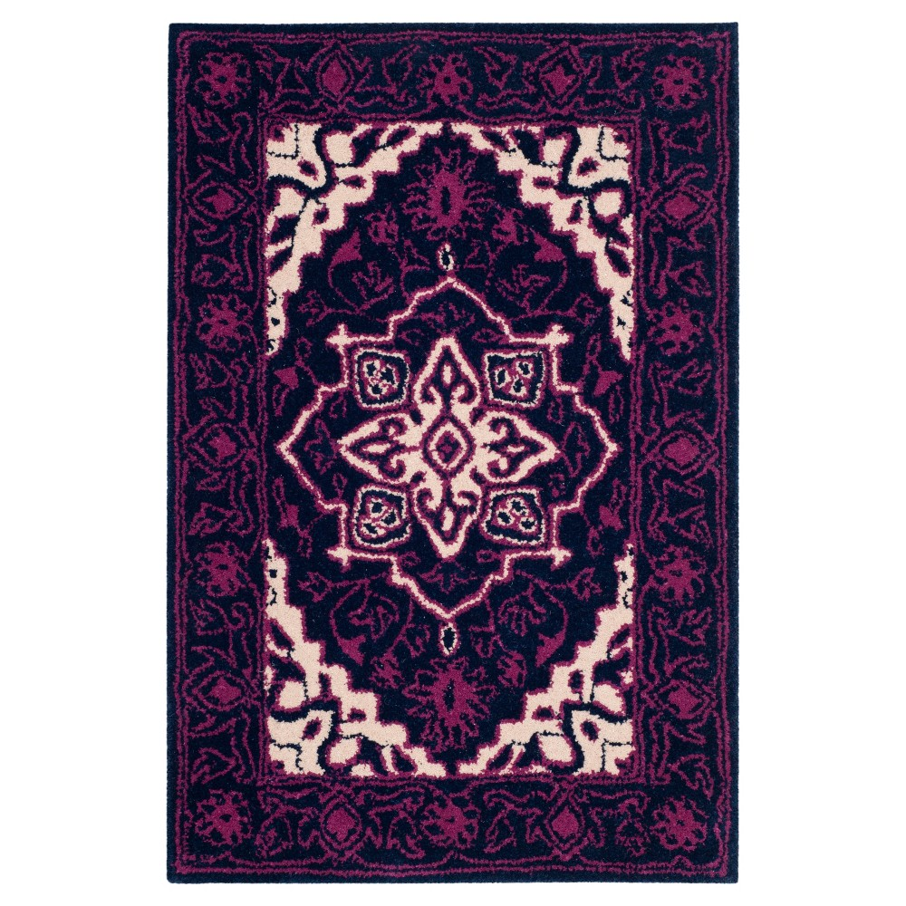 "Purple/Ivory Floral Tufted Accent Rug 2'6""X4' - Safavieh, White Purple"