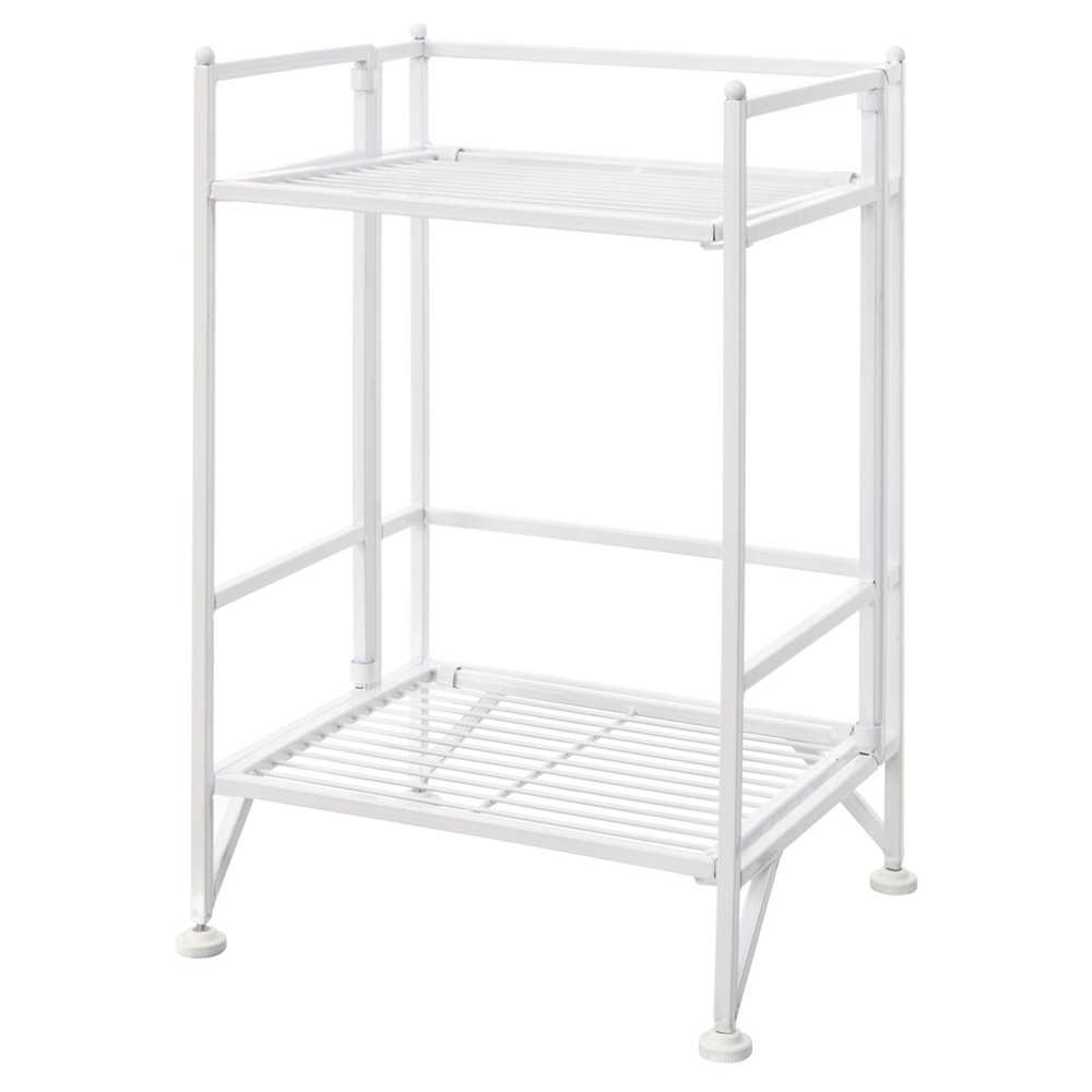 "20.25"" 2 Tier Folding Metal Shelf White - Breighton Home from Breighton Home"