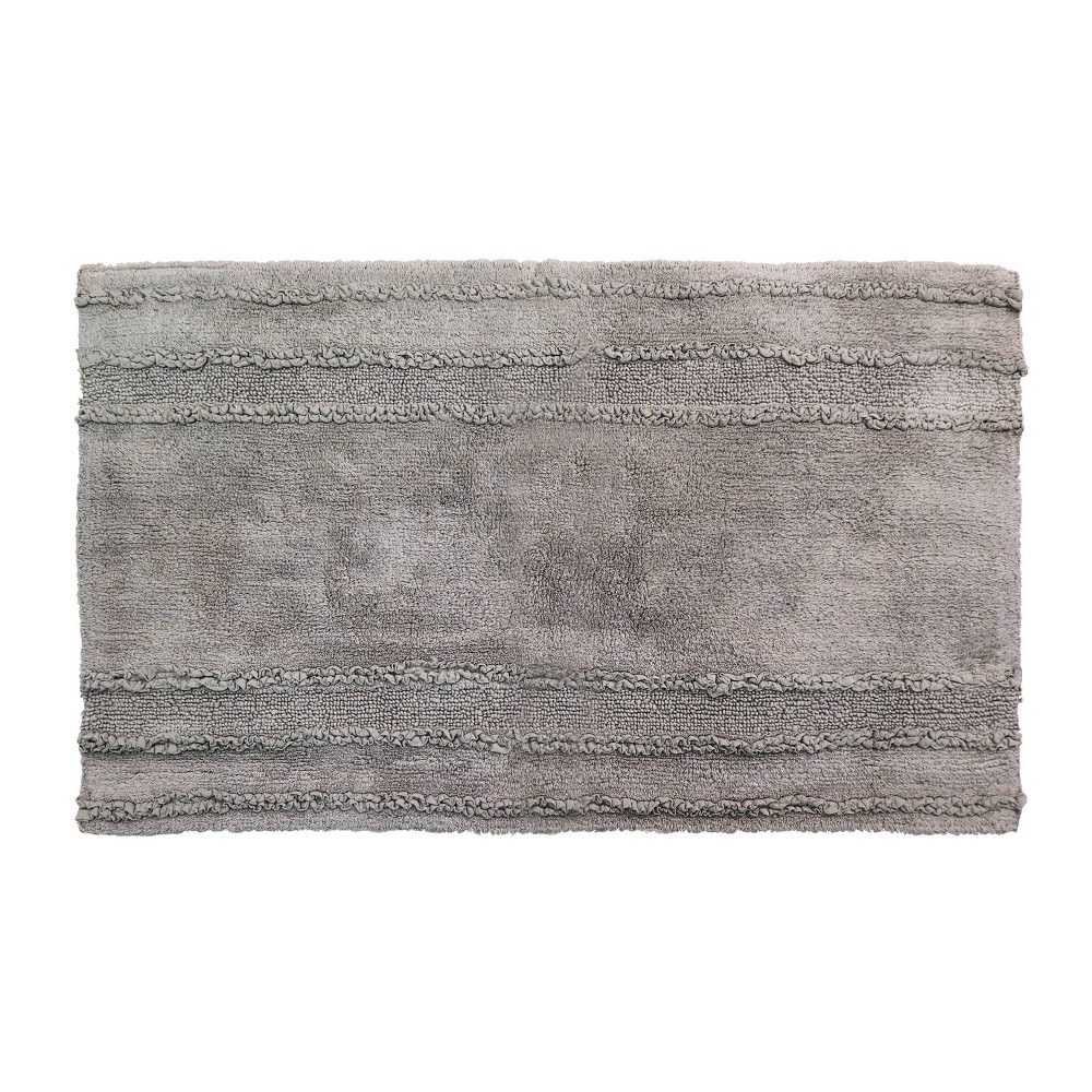"21""x34"" Ruffle Border Collection 100% Cotton Bath Rug Gray - Better Trends from Better Trends"