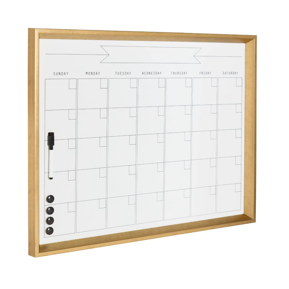 "21.5"" x 27.5"" Calter Framed Magnetic Dry Erase Monthly Calendar Gold - Kate and Laurel from Kate & Laurel All Things Decor"