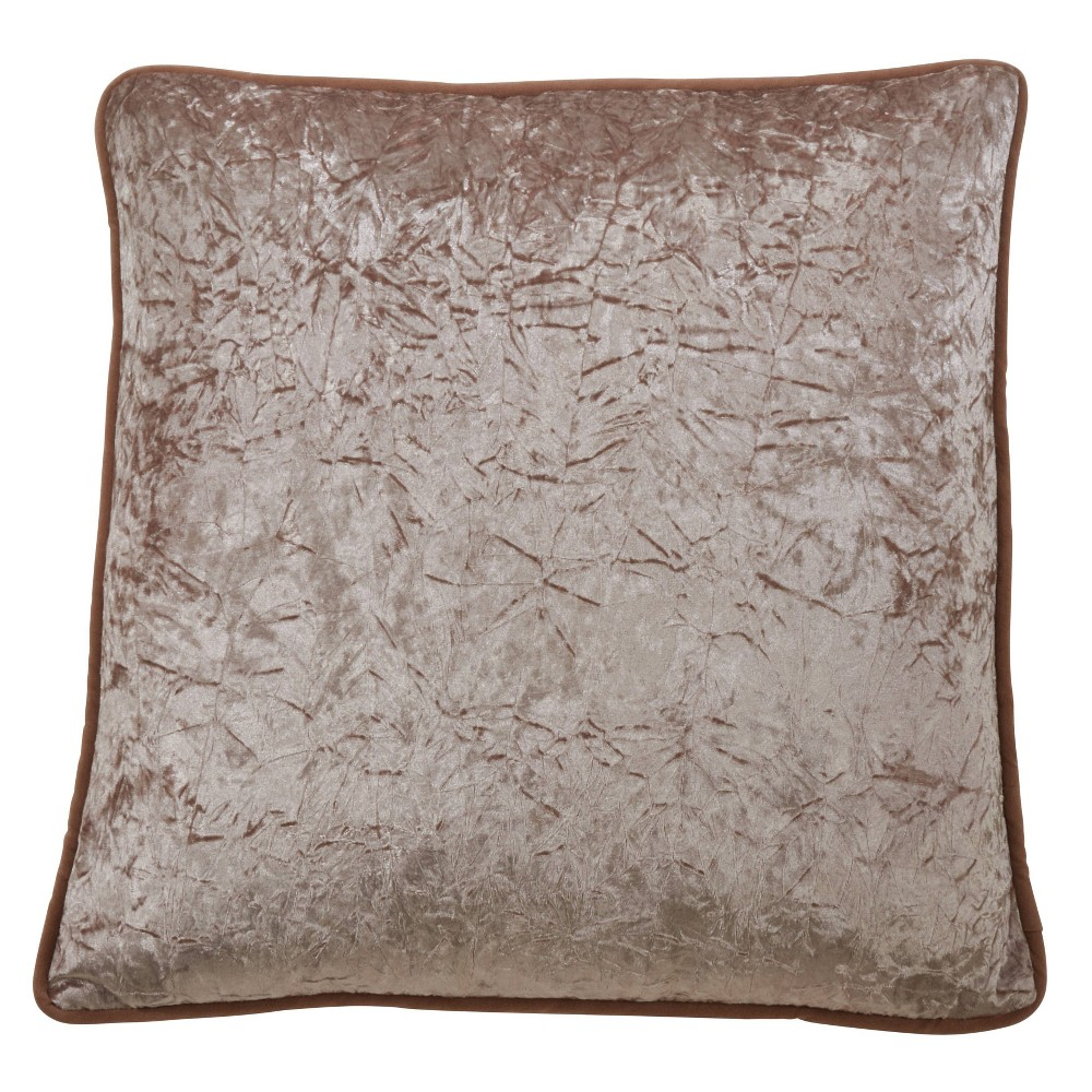 "22"" Crushed Velvet Pillow Poly Filled Champagne - SARO Lifestyle from Saro Lifestyle"