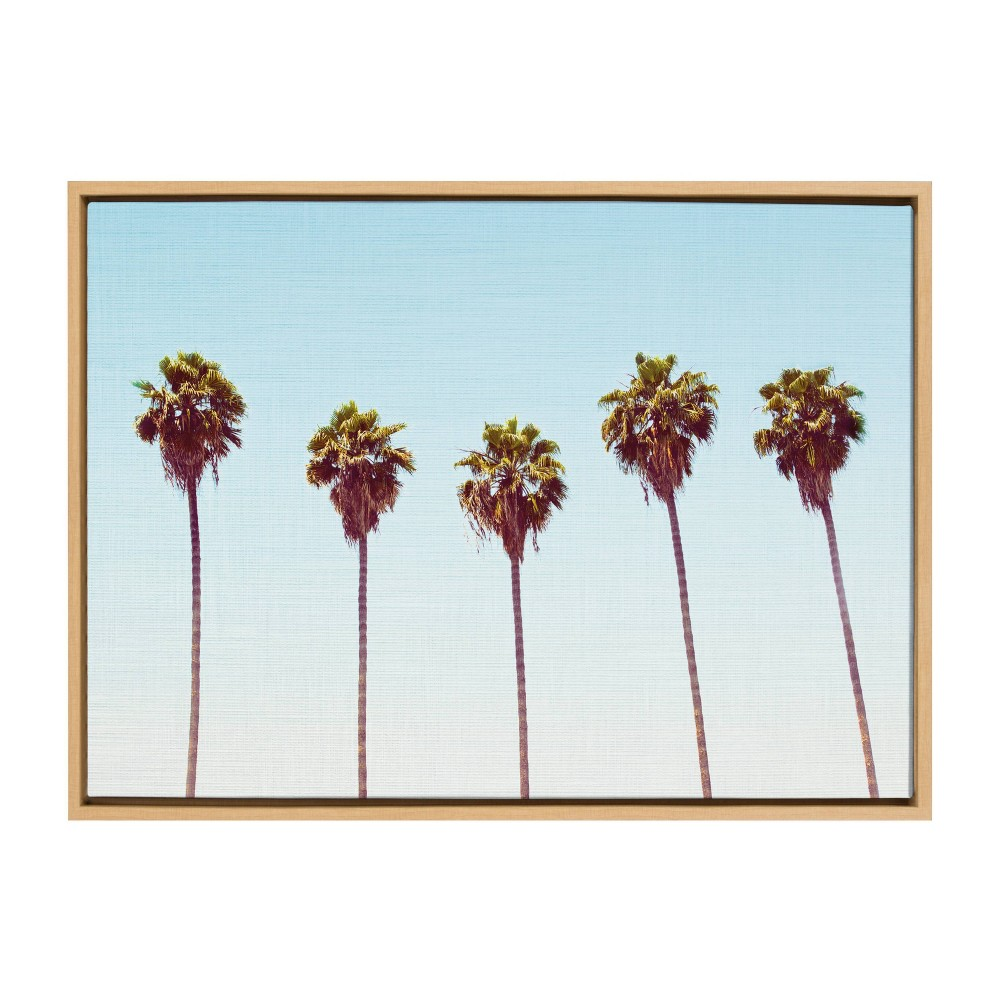 "23"" x 33"" Sylvie Five Palms Framed Canvas by Simon Te Natural - Kate and Laurel from Kate & Laurel All Things Decor"