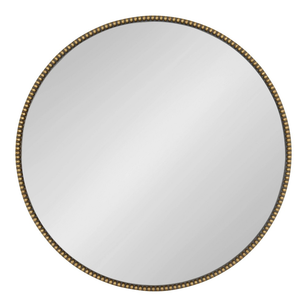 "24"" x 24"" Gwendolyn Round Beaded Accent Wall Mirror Gold - Kate and Laurel from Kate & Laurel All Things Decor"