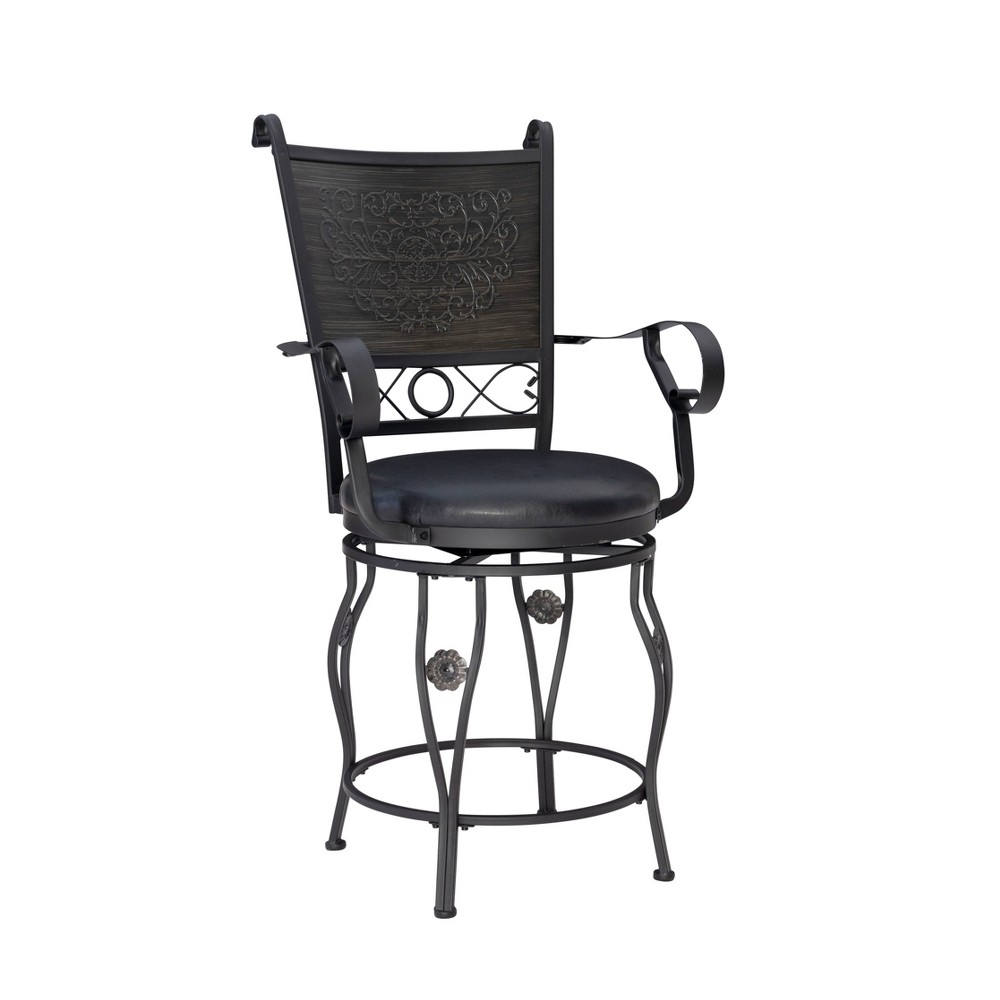 "24"" Ellie Big & Tall Counter Height Barstool Black - Powell Company from Powell Company"