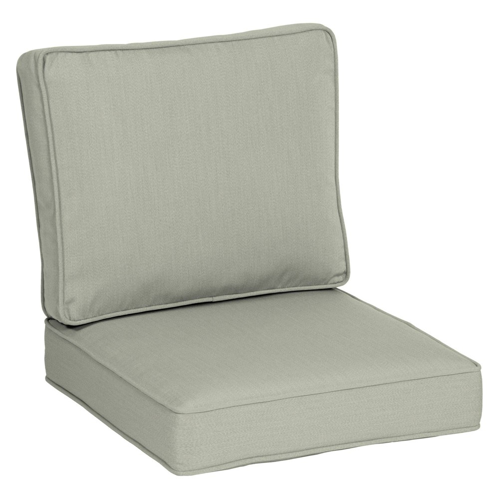 "24"" x 24"" Plush Deep Seat Cushion Set Light Gray - Arden Selections from Arden"
