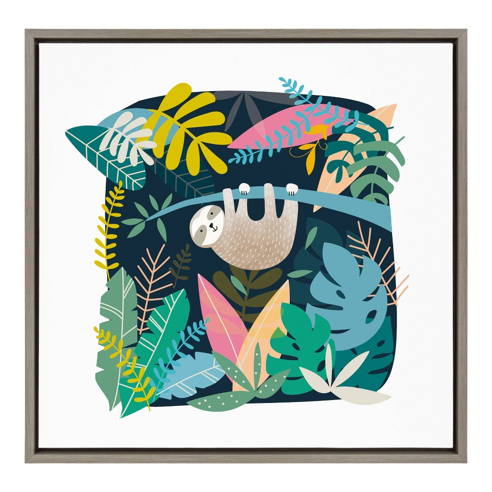"24"" x 24"" Sylvie Sloth Illo Framed Canvas Wall Art by Teju Reval Gray - Kate and Laurel from Kate & Laurel All Things Decor"