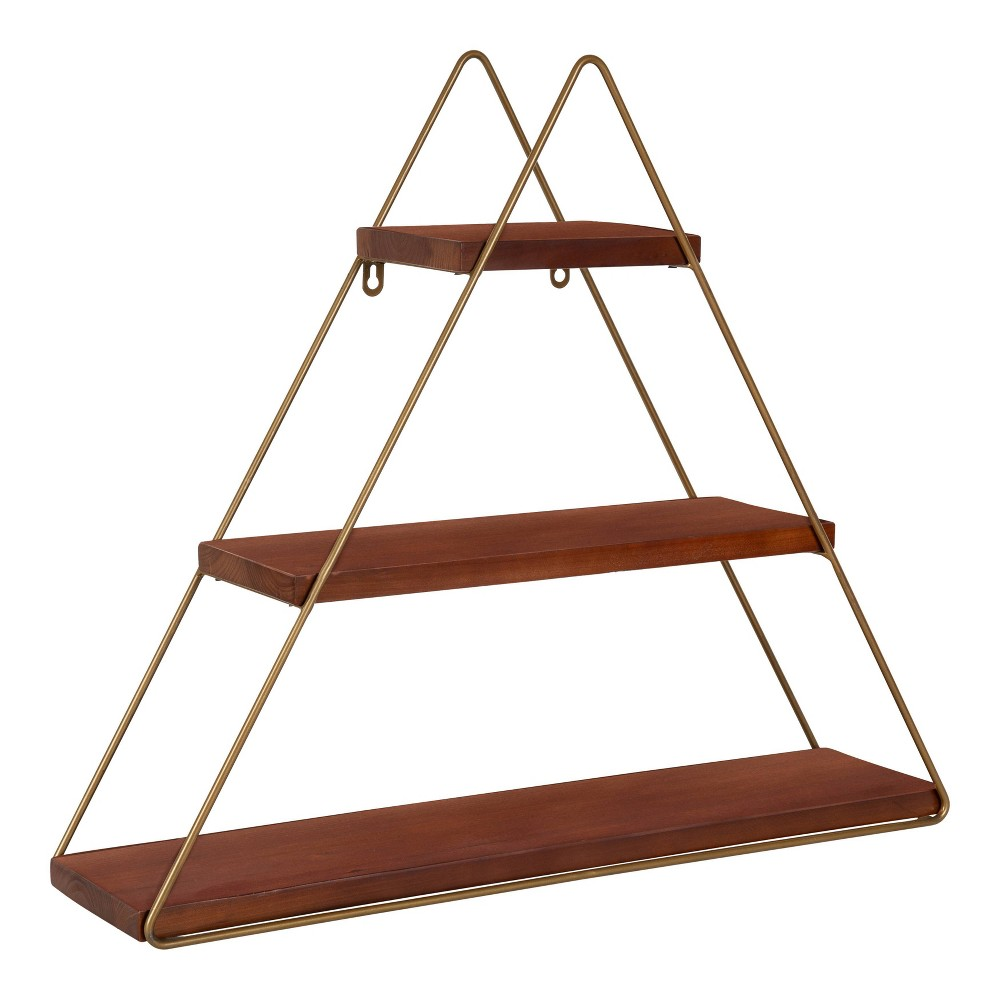 "24.2"" x 21"" Tilde Three-Tier Triangle Wood and Metal Wall Shelf Brown/Gold - Kate & Laurel All Things Decor from Kate & Laurel All Things Decor"