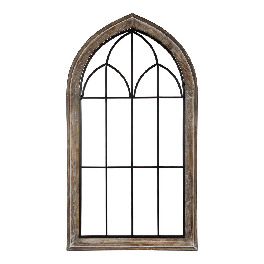"27"" x 48"" Rennel Window Pane Arch Wall Decor Rustic Brown - Kate and Laurel from Kate & Laurel All Things Decor"