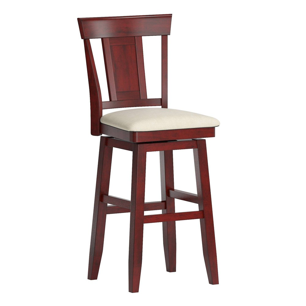 "29"" South Hill Panel Back Wood Swivel Height Barstool Ruby Red - Inspire Q from Inspire Q"