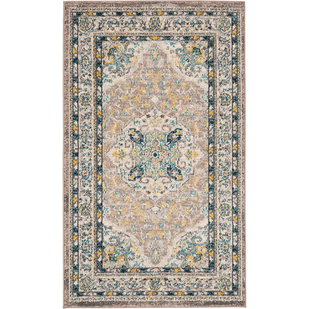 3'X5' Medallion Loomed Accent Rug Ivory/Gray - Safavieh