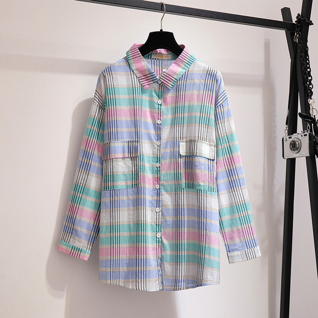300 Kg Large Size Women's Fat Mm Season Color Plaid Shirt Air Conditioning Shirt Loose Sunscreen Shirt