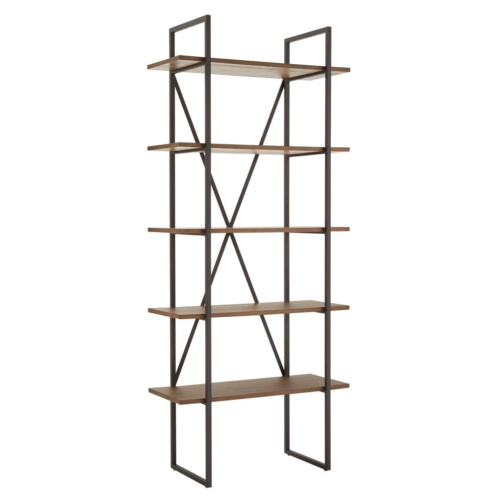 "77.65"" Nathyn 5 Shelf X Back Metal Post Bookshelf Walnut Brown - Inspire Q from Inspire Q"