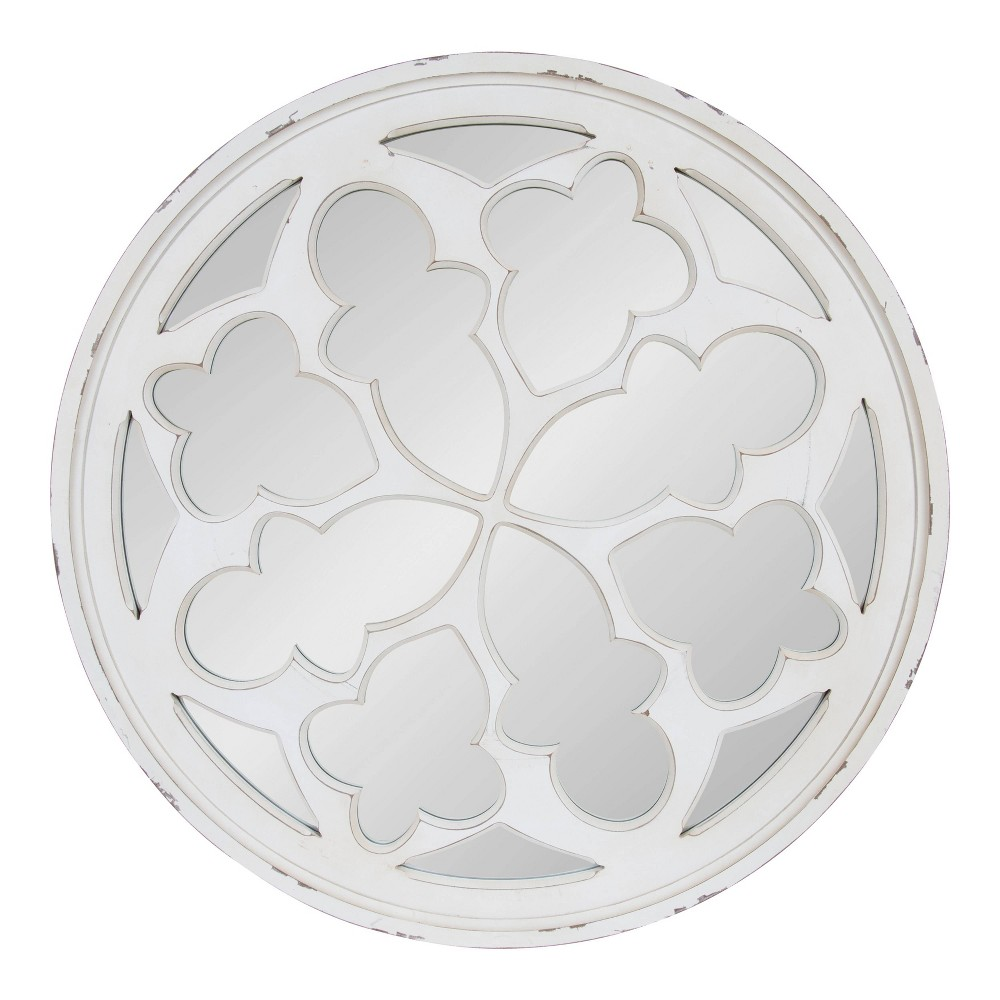 "35.5"" Holland Overlayed Round Wall Mirror White - Kate and Laurel from Kate & Laurel All Things Decor"