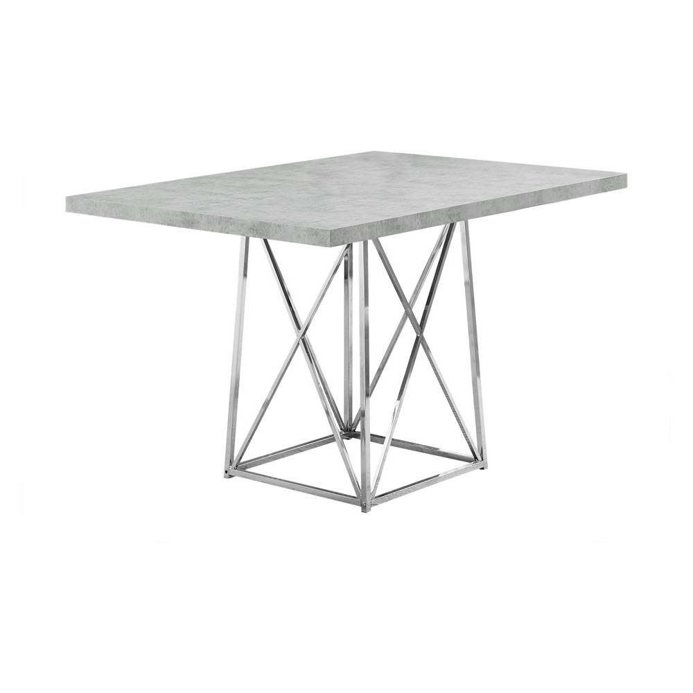 "36"" X 48"" Dining Table Chrome Metal Cement Gray - EveryRoom from EveryRoom"