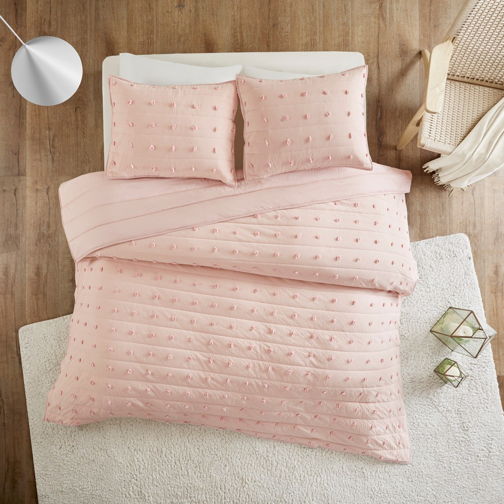 3pc Full/Queen Kay Cotton Jacquard Coverlet Set Pink from Distributed by Target