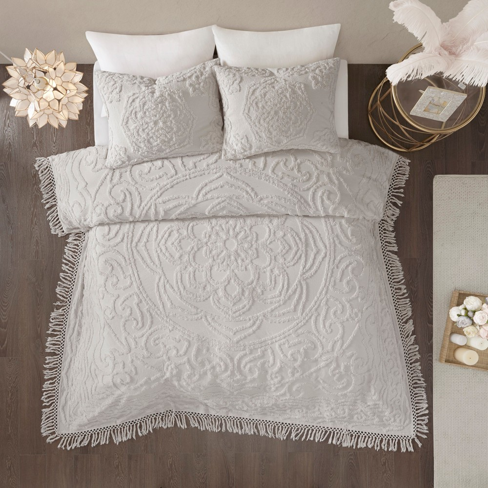 3pc King/California King Cecily Cotton Medallion Fringe Coverlet Set Gray from No Brand