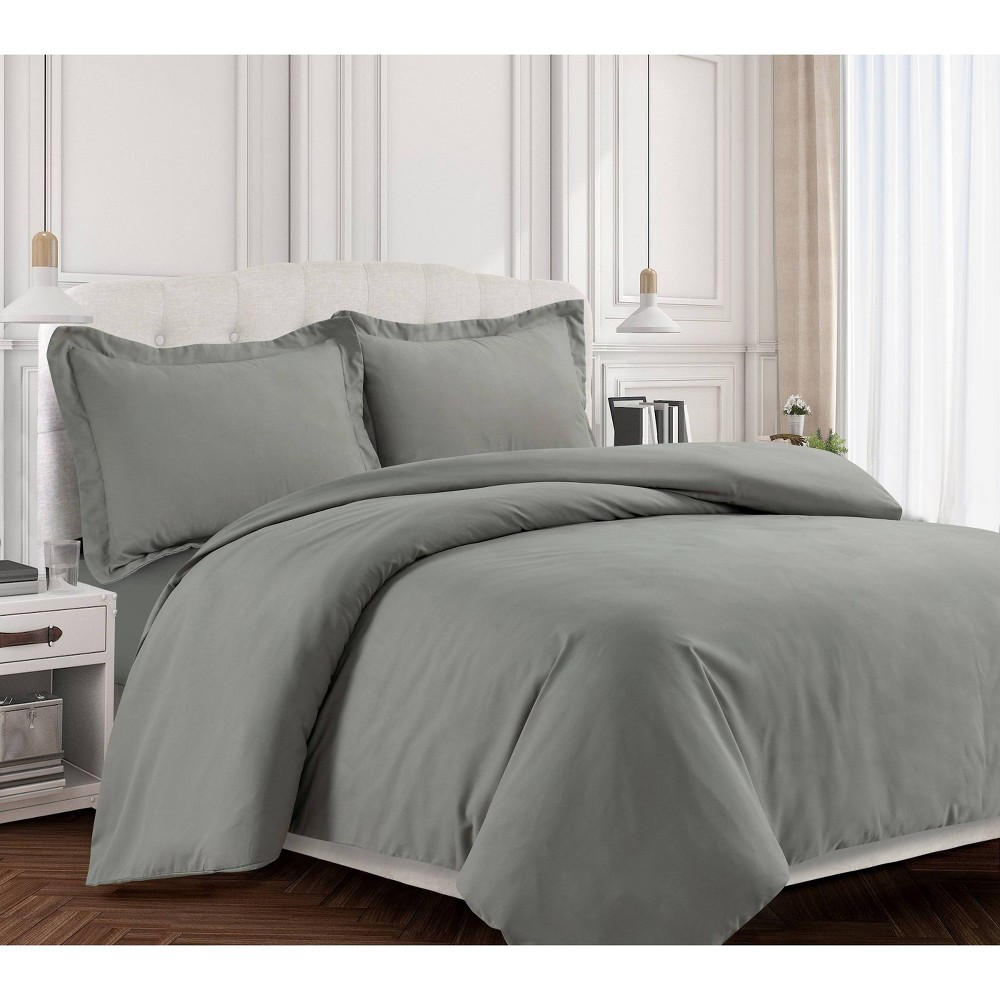 3pc King Valencia Microfiber Oversized Duvet Cover Set Silver Gray - Tribeca Living from Tribeca Living