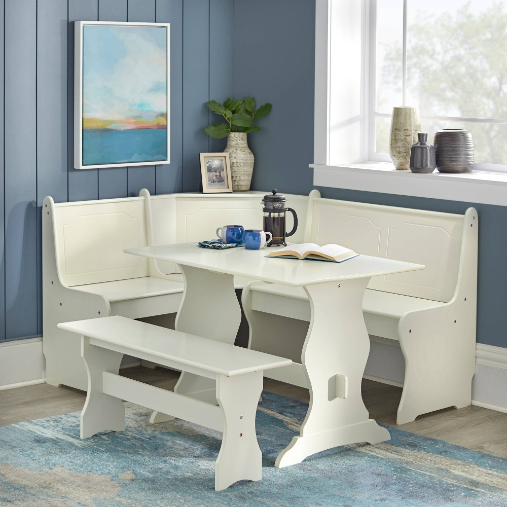 3pc Nook Dining Set Antiqued White - Buylateral from Buylateral