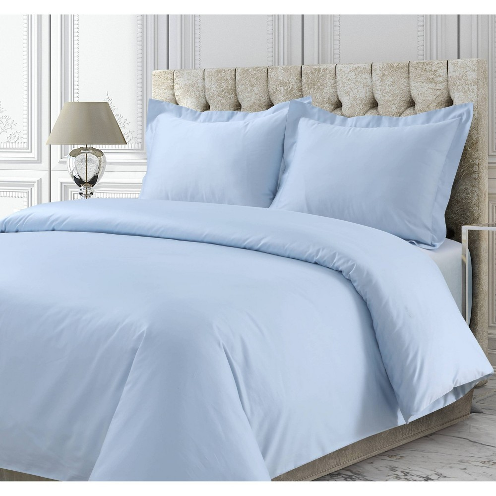 3pc Queen 750 Thread Count Cotton Sateen Oversized Duvet Cover Set Sky Blue - Tribeca Living from Tribeca Living