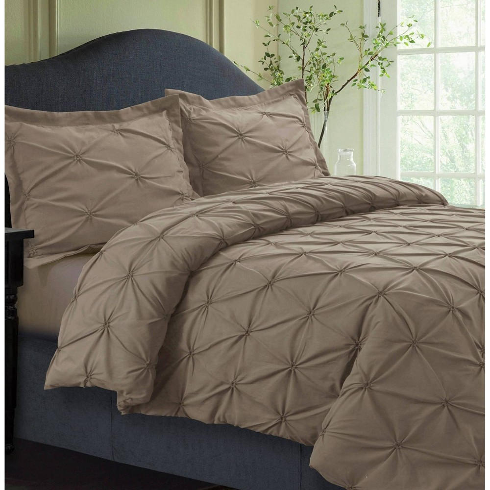 3pc Queen Sydney Microfiber Oversized Duvet Cover Set Taupe - Tribeca Living from Tribeca Living