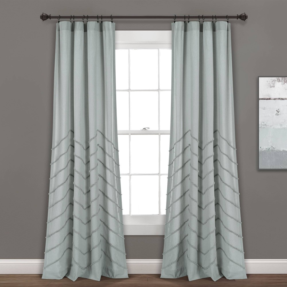 "Set of 2 40""x84"" Chenille Chevron Rod Pocket Light Filtering Window Curtain Panels Pastel Blue - Lush Décor, Adult Unisex, Size: 40""x84"""