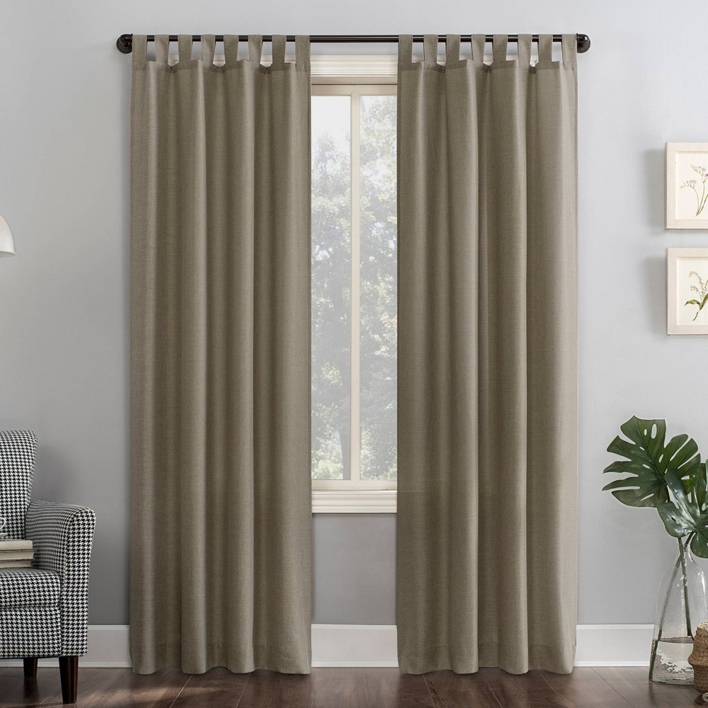 "40""x84"" Joshua Heathered Texture Tab Top Semi-Sheer Curtain Panel Light Brown - No. 918, Adult Unisex, Size: 40""x84"""