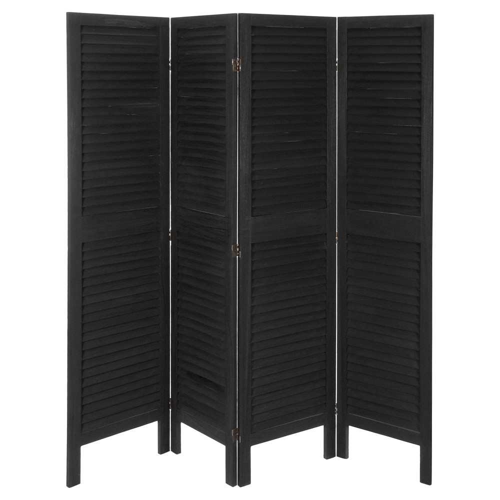 5 1/2 ft. Tall Modern Venetian Room Divider - Black (4 Panels) from Oriental Furniture