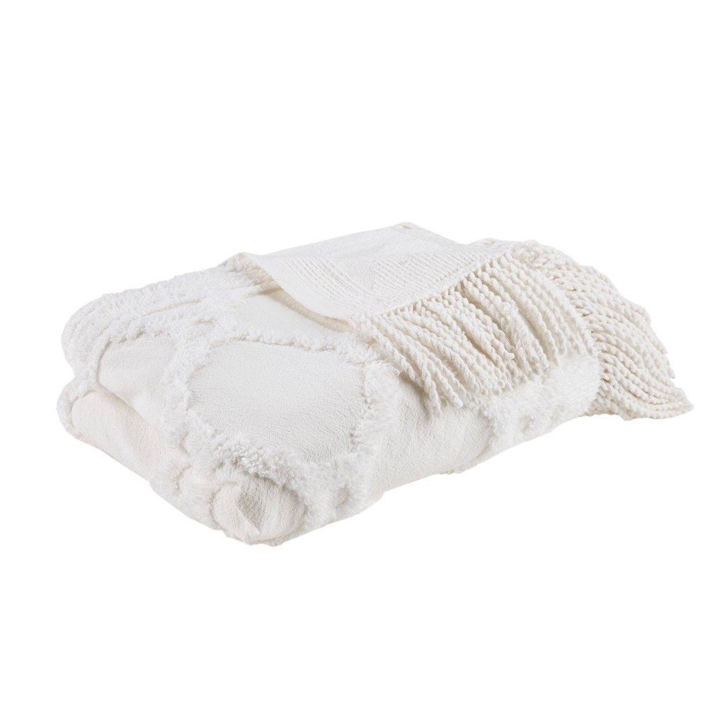 "50""x60"" Hannah Cotton Tufted Throw Blanket Ivory from No Brand"