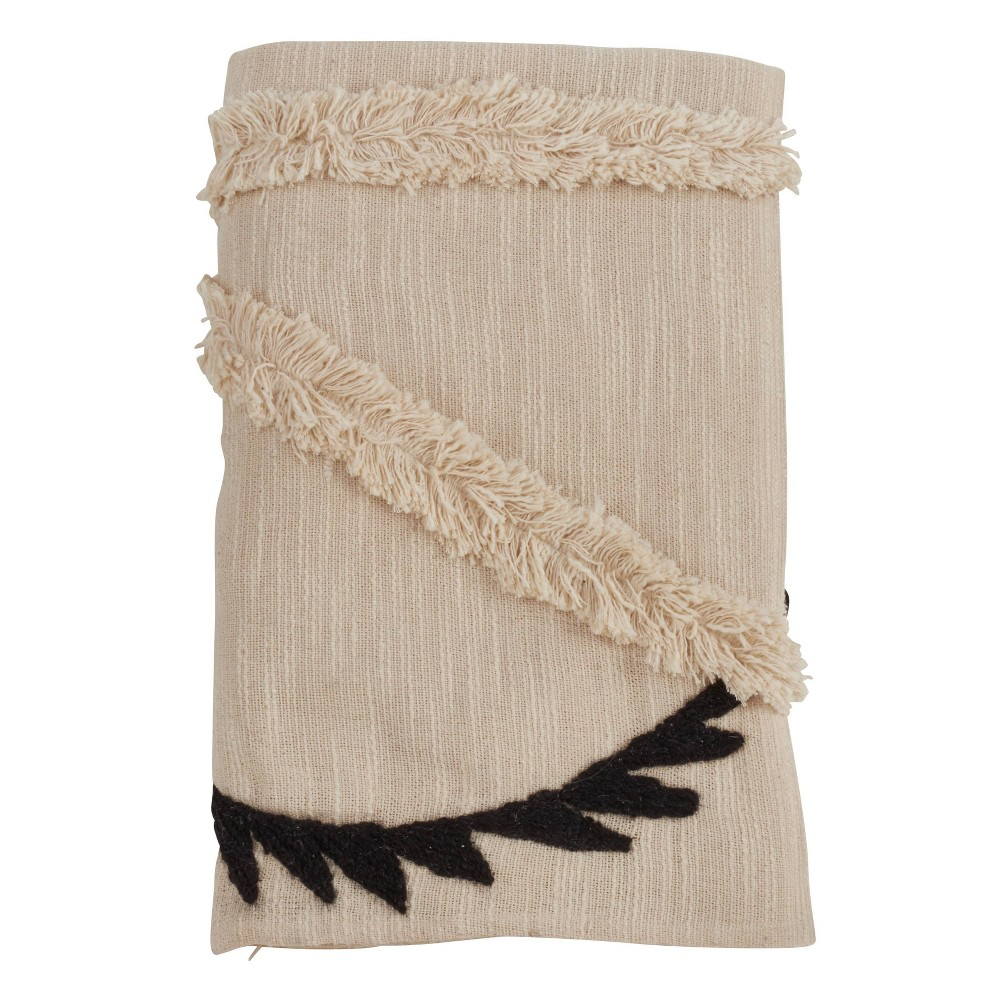 "50""x80"" Embroidered Throw With Fringe Line Design Ivory - SARO from Saro Lifestyle"