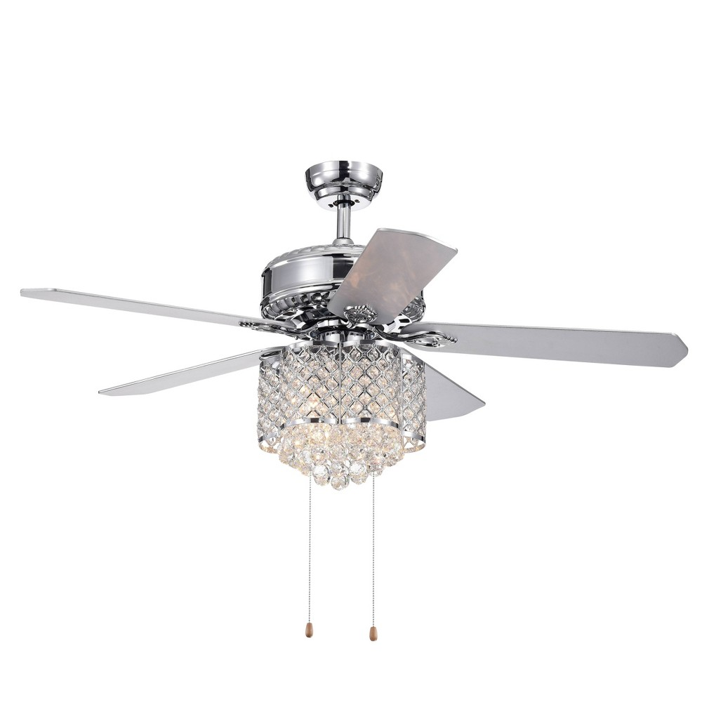 "52"" x 52"" x 22"" 5-Blade Deidor Lighted Ceiling Fan with Crystal Chandelier Silver - Warehouse Of Tiffany from Warehouse Of Tiffany"