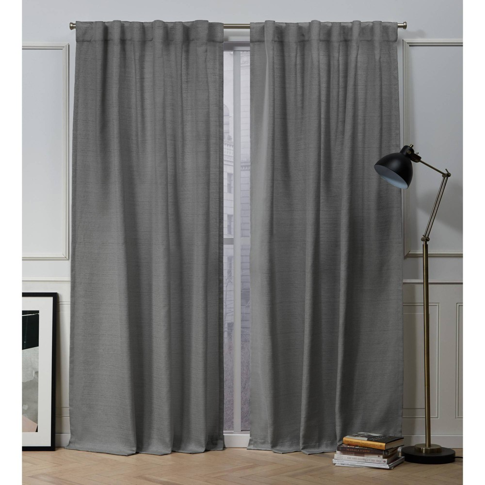 "96""x54"" Mellow Slub Back Tab Light Filtering Window Curtain Panels Black - Nicole Miller from Nicole Miller"