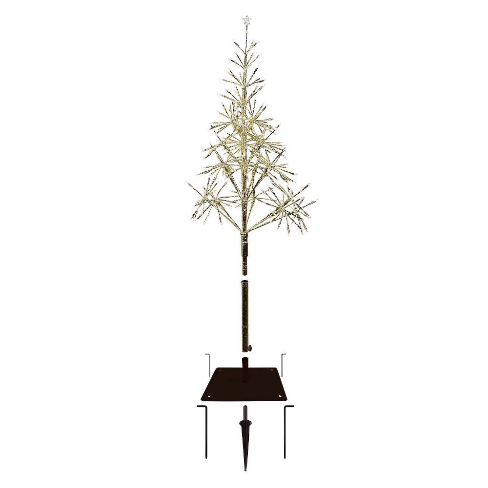 5ft Alpine Festive Golden Artificial Christmas Tree with Warm White LED Lights from Alpine Corporation