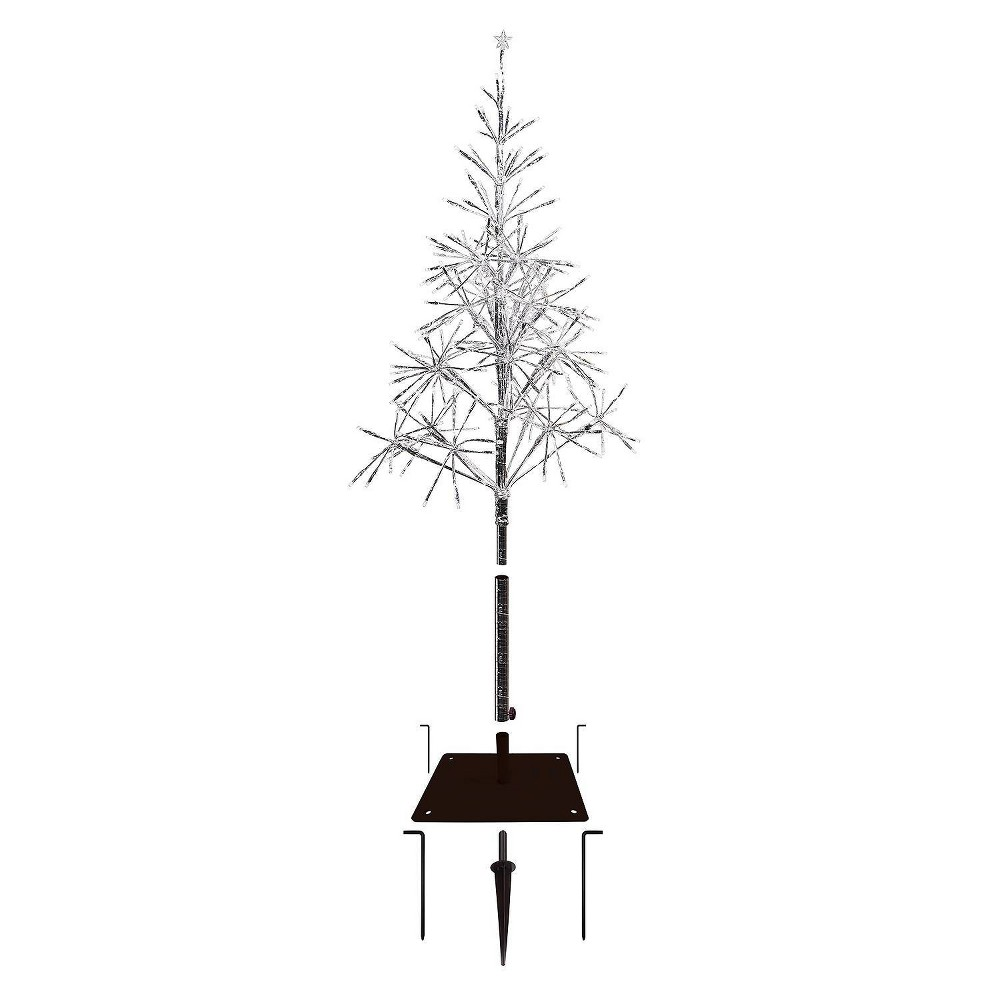 5ft Alpine Silver Artificial Christmas Tree with Warm White LED Lights Silver from Alpine Corporation