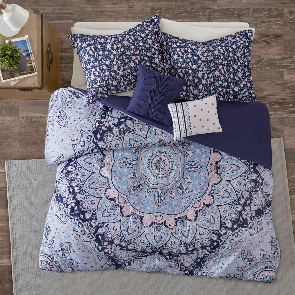 5pc Full/Queen Willow Boho Comforter Set Blue from Distributed by Target