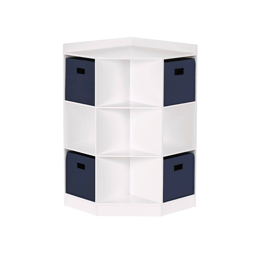 5pc Kids' Corner Cabinet Set with 4 Bins White/Navy - RiverRidge Home from RiverRidge Home