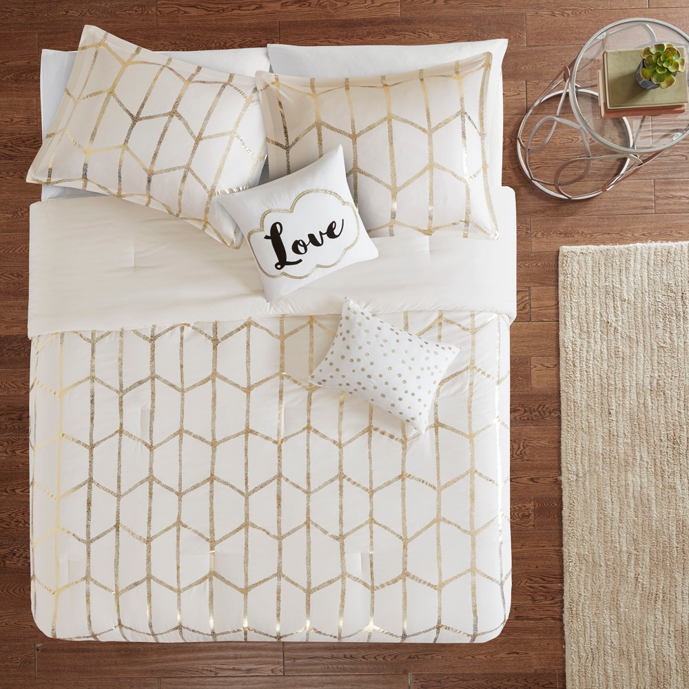5pc King/California King Arielle Printed Comforter Set Ivory/Gold from Distributed by Target