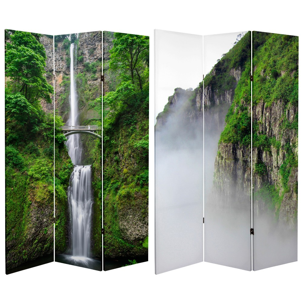 6' Tall Double Sided Mountaintop Waterfall Canvas Room Divider - Oriental Furniture from Oriental Furniture