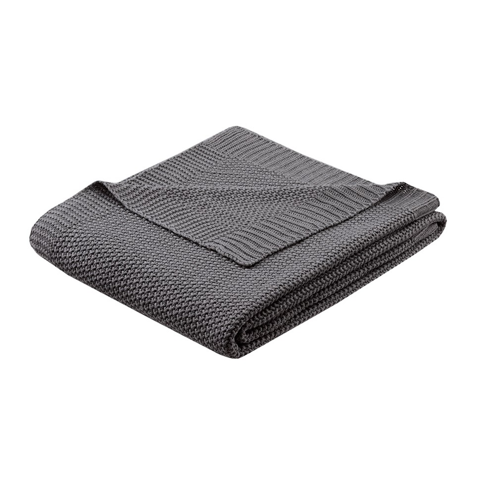 "60""x50"" Bree Knit Throw Blanket Black"