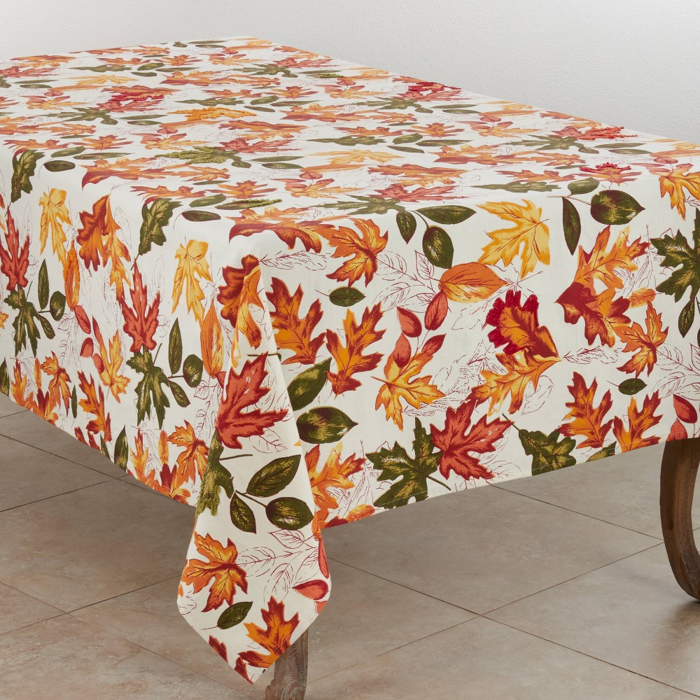 "65"" X 104"" Embroidered Autumn Leaves Tablecloth - SARO Lifestyle from Saro Lifestyle"