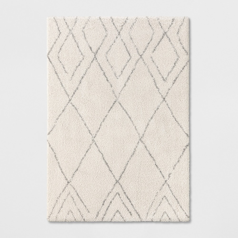 7'X10' Diamond Patterned Shag Woven Area Rug Cream - Project 62 from Project 62