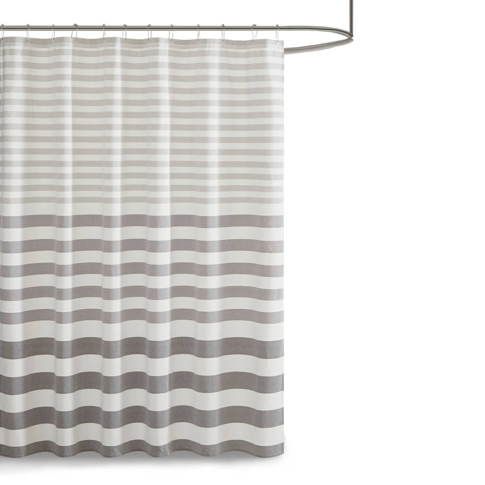 "72""x72"" Colette Yarn Dyed Woven Shower Curtain Gray from No Brand"