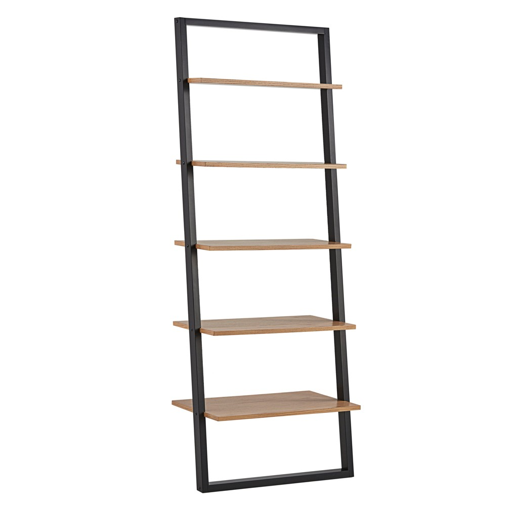 "73.6"" Portay Ladder Bookshelf Two-Tone Black/Oak Brown - Inspire Q from Inspire Q"