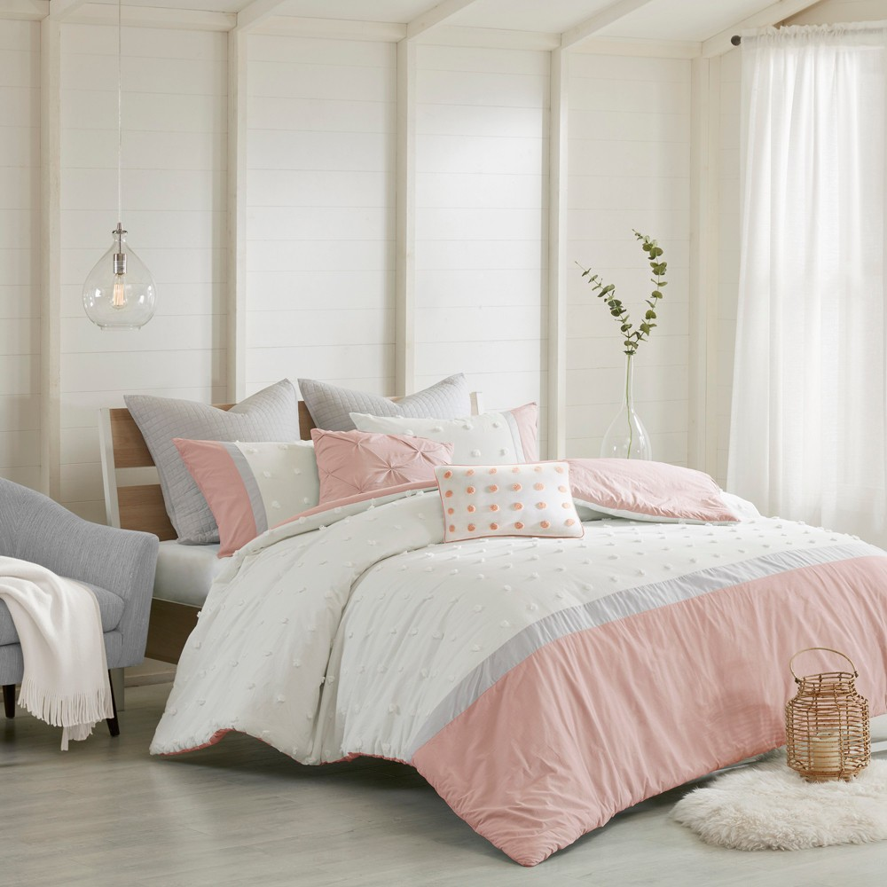 7pc Full/Queen Kira Cotton Jacquard Duvet Cover Set Blush from Distributed by Target