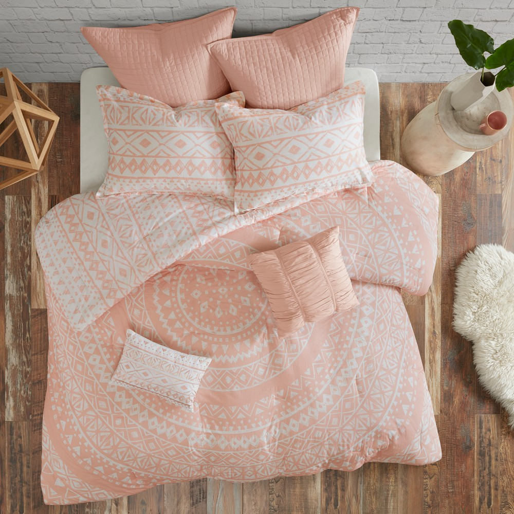 7pc Mica Cotton Reversible Comforter Set (King/California) Blush from Distributed by Target