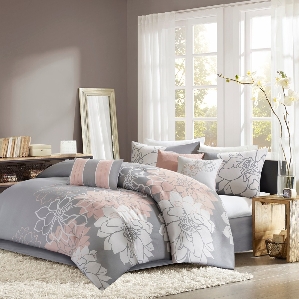 7pc King Jane Comforter Set Gray/Blush, Grey/Blush