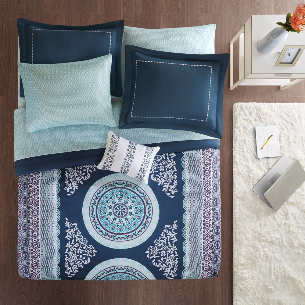 7pc Twin Blaire Comforter and Sheet Set Navy from Distributed by Target