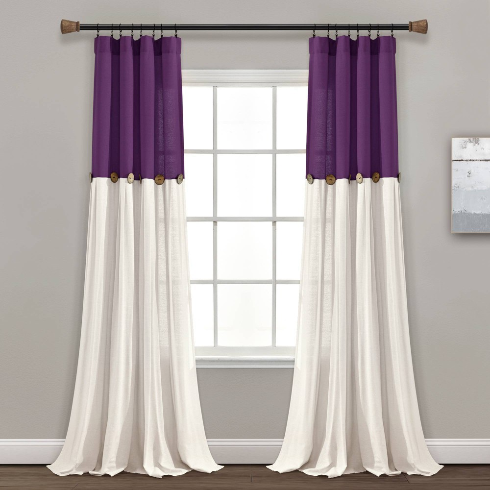 "84""x40"" Linen Button Light Filtering Window Curtain Panel Purple/White - Lush Décor"