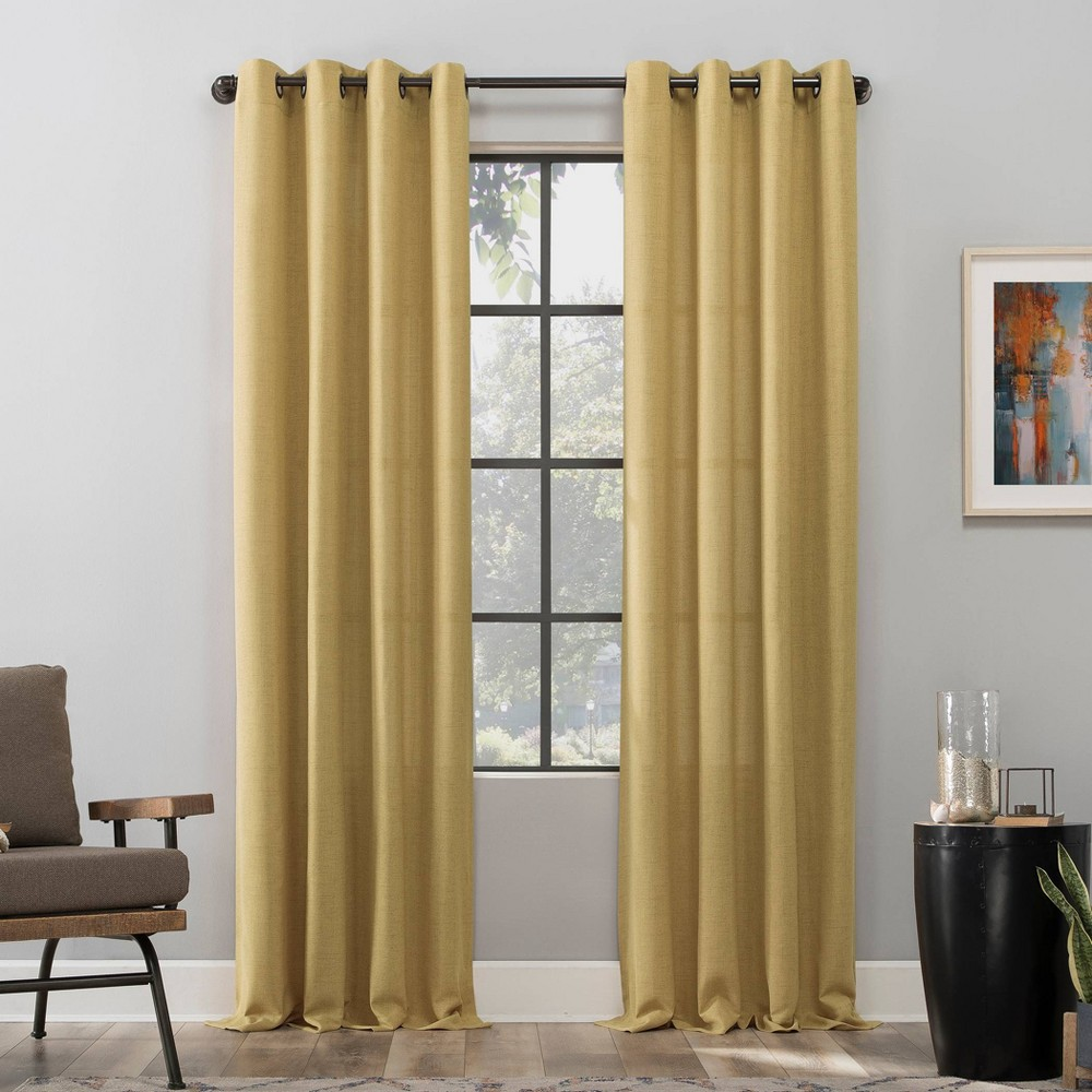 "84""x50"" Dari Heathered Texture Light Filtering Grommet Top Curtain Panel Yellow - Scott Living from Scott Living"